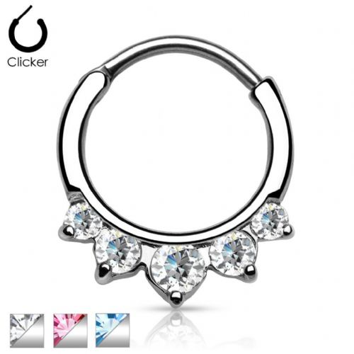Septum Clicker with 5 CZ Gems
